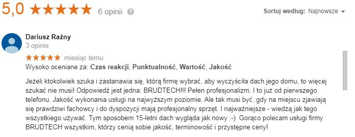 Opinie o firmie mycie dachów Poznań